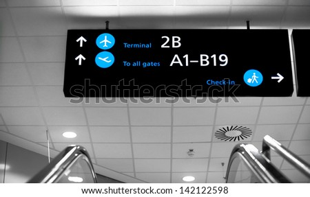 Terminals airport sign at Budapest, Hungary - stock photo