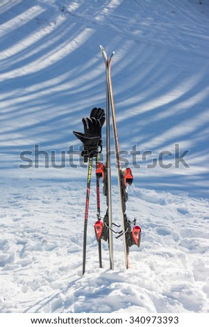 TERMINILLO, ITALY - JANUARY 02, 2015: Skiers on the slope of Ski resort Terminillo, mountains Apennines, central Italy. This is the most important ski resort of the Lazio.