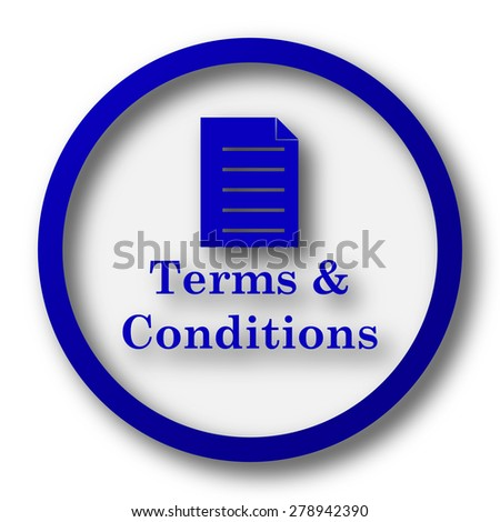 Terms and conditions icon. Blue internet button on white background.  - stock photo