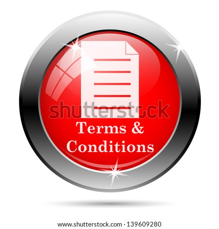 Terms and conditions icon with white on red background - stock photo