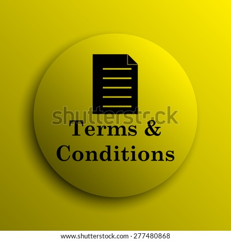 Terms and conditions icon. Yellow internet button.  - stock photo
