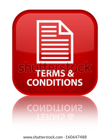 Terms & conditions glossy red reflected square button - stock photo