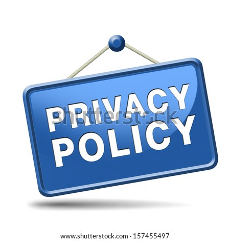 terms of use and privacy policy for the use of personal data and confidential information. Sign, icon, label or button.