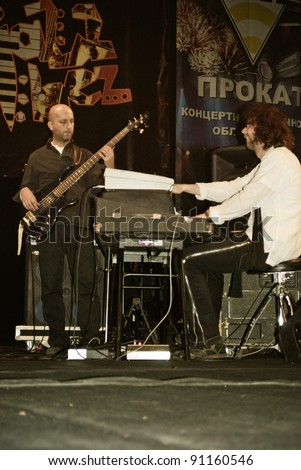 "TERNOPIL, UKRAINE - DECEMBER 11: Band ""El-Greco"" performs at the annual Festival ""Jazz Bez"" on December 11, 2011 in Ternopil, Ukraine."