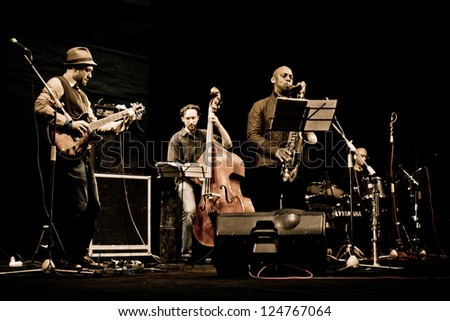 """TERNOPIL, UKRAINE - DECEMBER 16: Band  """"Vinita Formation"""" live stage performing as part of annual Festival """"Jazz Bez"""" on December 16, 2012 in Ternopil, Ukraine - stock photo"""