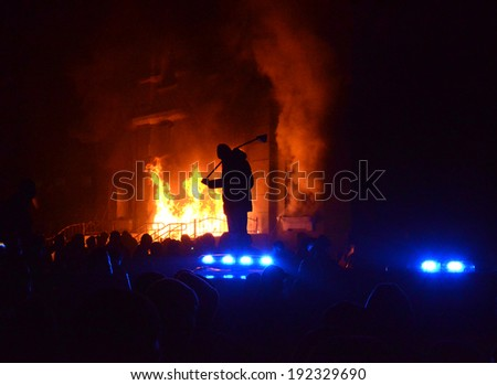 TERNOPIL, UKRAINE- FEBRUARY 18: Protestants pelted police with stones, and then burned police department on the Night of anger on February 18, 2014 in Ternopil, Ukraine (violence, arson, mayhem).