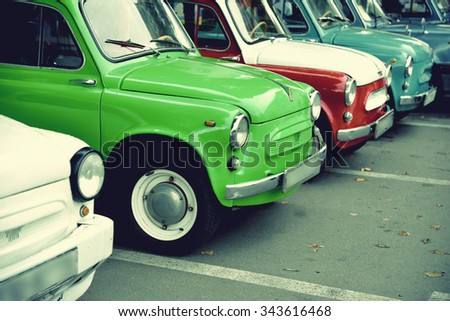 """Ternopil, Ukraine  September 27, 2015: Cars """"Zaporozhets"""" during the exhibition of vintage cars in Ternopil. - stock photo"""
