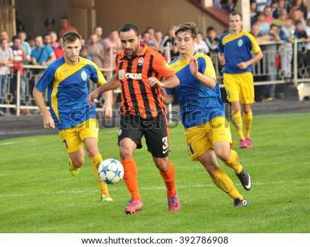 TERNOPIL - UKRAINE - September 29, 2015. The match at the Cup of Ukraine on football between FC Ternopil and FC Shakhtar Donetsk.