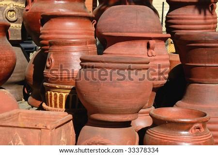 Terra Cotta Pots Stacked Stock Photo Royalty Free 33378334