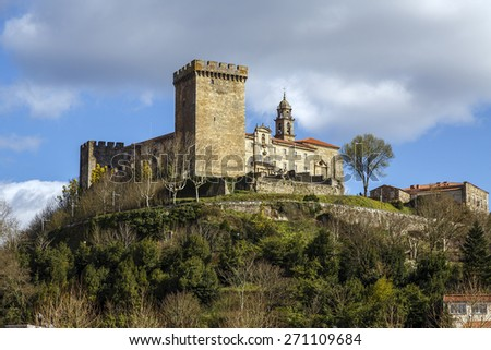 terra de lemos (Ribeira Sacra): Castle of the Counts of lemos in the town of Monforte de Lemos, keep. Spain - stock photo