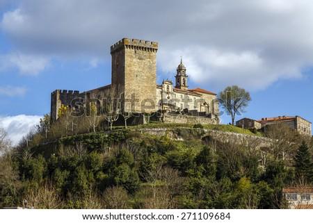 terra de lemos (Ribeira Sacra): Castle of the Counts of lemos in the town of Monforte de Lemos, keep. Spain - stock photo