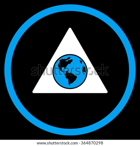 Terra Triangle glyph icon. Style is bicolor flat circled symbol, blue and white colors, rounded angles, black background. - stock photo