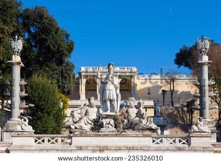 Terrace and the fountain at the Piazza del popolo In Rome (Fontana della Dea di Roma e terrazza del Pincio) - stock photo