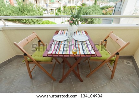 Terrace exterior of apartment in mediterranean environment - stock photo