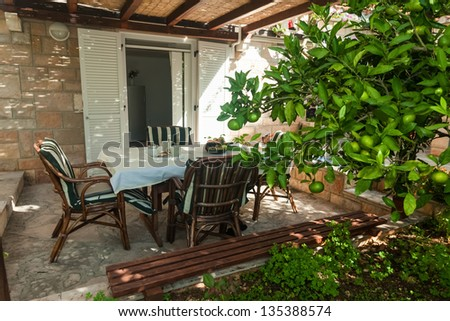 Terrace exterior of apartment in mediterranean environment