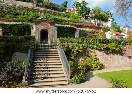 terrace gardens Prague, Bohemia (Great Palffy garden) - stock photo