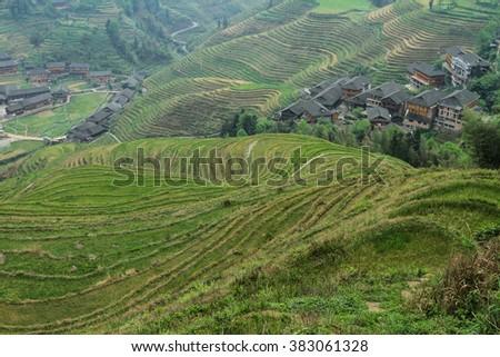 terrace in Guilin - stock photo