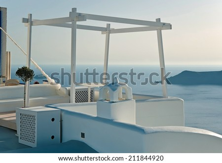 Terrace in Imerovigli, Santorini, Greece - stock photo