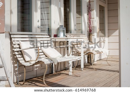 Terrace Lounge With Comfortable Divans In A Luxury House. Garden Furniture  At The Patio.