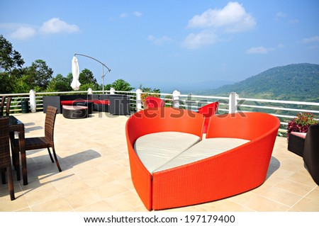 Terrace lounge with Table and Chair ,Blue Sky - stock photo