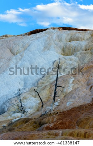 Terrace Mountain, Limestone and Rock Formations at Mammoth Hot Springs in Yellowstone National Park, Wyoming, USA