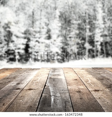 terrace of wood and forest  - stock photo