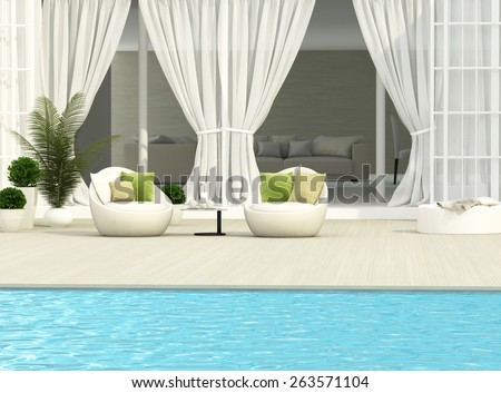 Terrace, white furniture and flowers - stock photo