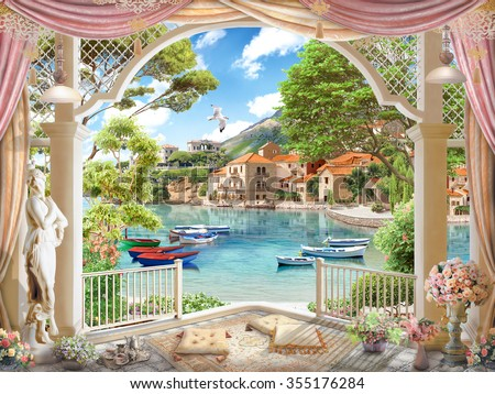 Terrace with access to the beach - stock photo
