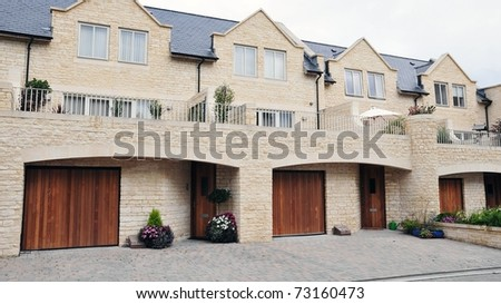 Terraced Housing on an English Residential Estate - stock photo