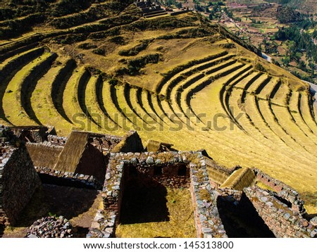 Terraces of Pisac in Urubamba valley near Cusco (Peru) - stock photo