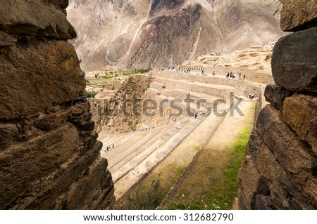 Terraces of Pisac in Urubamba valley near Cusco (Peru) south america