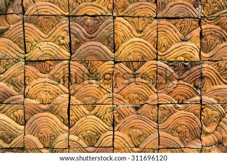 Terracotta art from temple in Chiang Mai , Thailand with difference colors (public place , can take picture) - stock photo