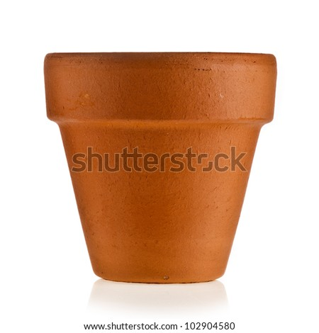 terracotta flowerpot isolated on white