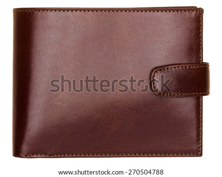 Terracotta natural leather wallet isolated on white background. Expensive man's purse closeup