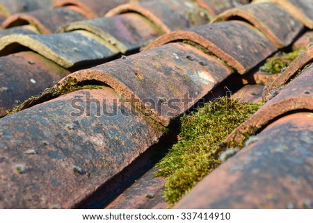 Terracotta roof tiles - stock photo