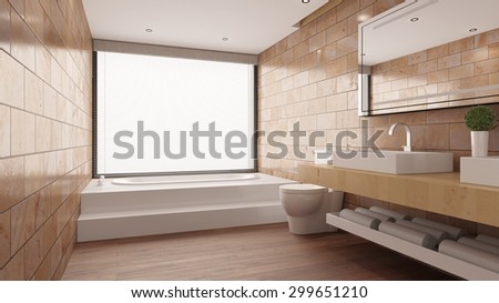 Terracotta tiles in modern bathroom with bathtub and sink and WC (3D Rendering) - stock photo