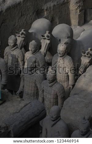 Terracotta warriors with horses - stock photo