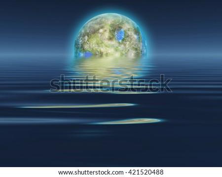 Terraformed Luna rises over water 3D Render - stock photo