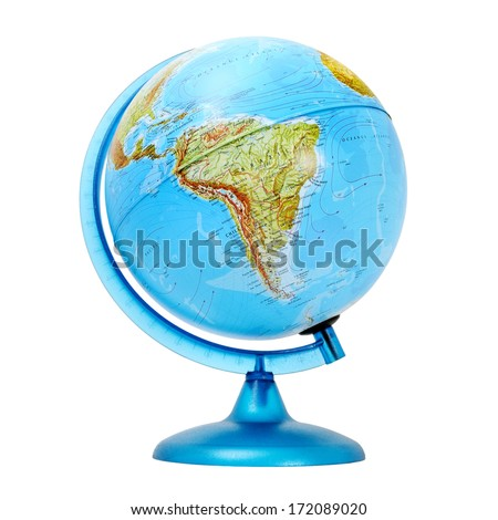terrestrial global isolated on a white background - stock photo