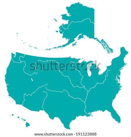 Terrestrial silhouette map of the United States with major rivers and lakes  - stock photo
