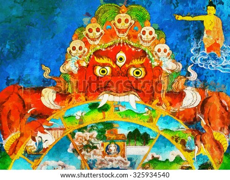 Terrible buddhist monster demon Mahakala and bodhisattva oil painting thanka style - stock photo