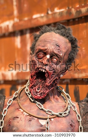 Terrible figure of zombies on the streets of Bangkok, Thailand - stock photo