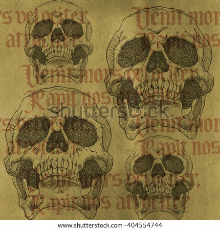 "Terrible frightening seamless pattern with skull on a antique grunge background.  The phrase is Latin for ""Death comes quickly and takes us mercilessly"" - stock photo"