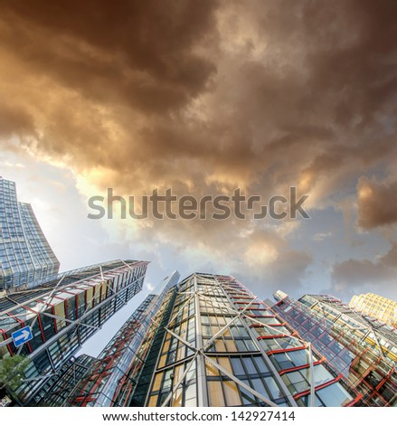 Terrific upward view of Modern Skyscrapers. - stock photo