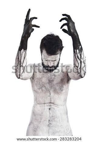 Terrifying Vampire pleading - stock photo
