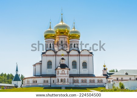 Territory of the Valday Iversky Monastery, a Russian Orthodox monastery founded by Patriarch Nikon in 1653. Lake Valdayskoye in Valdaysky District of Novgorod Oblast, Russia,