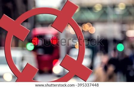 Terrorism Concept. City Target, Red Crosshairs. Terror Threat - stock photo