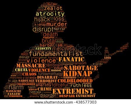 Terrorism concept in word collage: black background