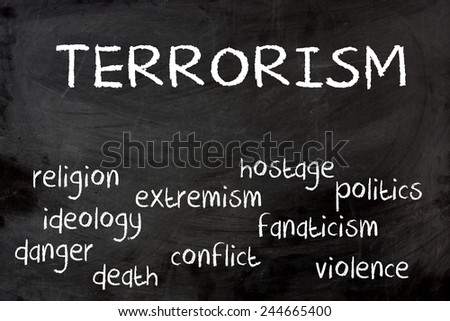 Terrorism concept in word tag cloud on a chalkboard