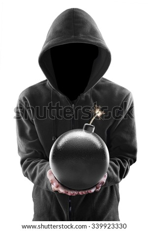 Terrorism concept: Terrorist holding a bomb in his hands isolated over white - stock photo